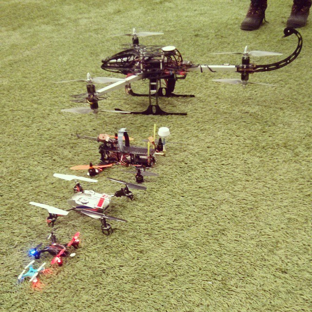 Five #multirotor machines in various sizes. #nano #Hubsan #MQX #Y6